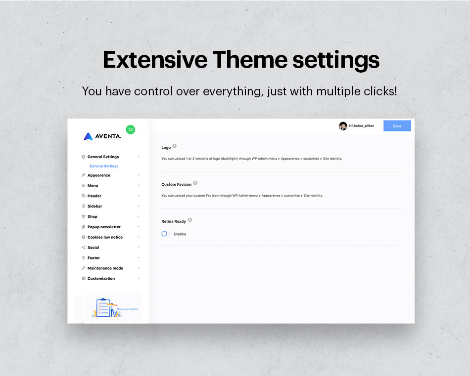 Extensive theme settings